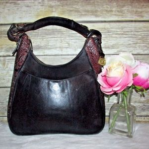 Brahmin Black Brown Croc Embossed Leather Bag